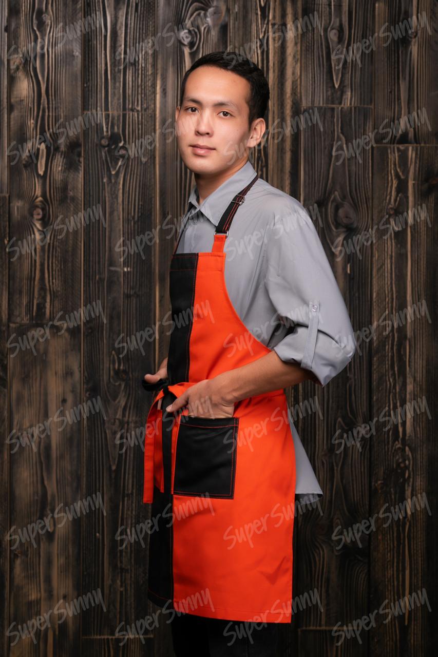 """Фартук с грудкой """"Лидер"""", черно-оранжевый, без подклада"""