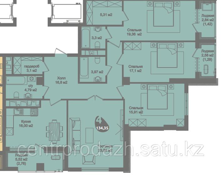 4 комнатная квартира в ЖК Асем Тас 2 134.35 м²