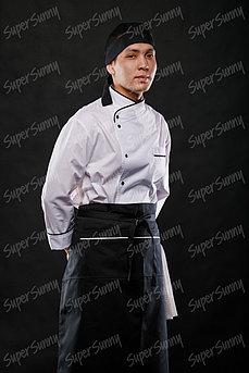 Фартук без грудки длинный с белой отделкой с разрезами (без подклада), с вафельным полотенцем