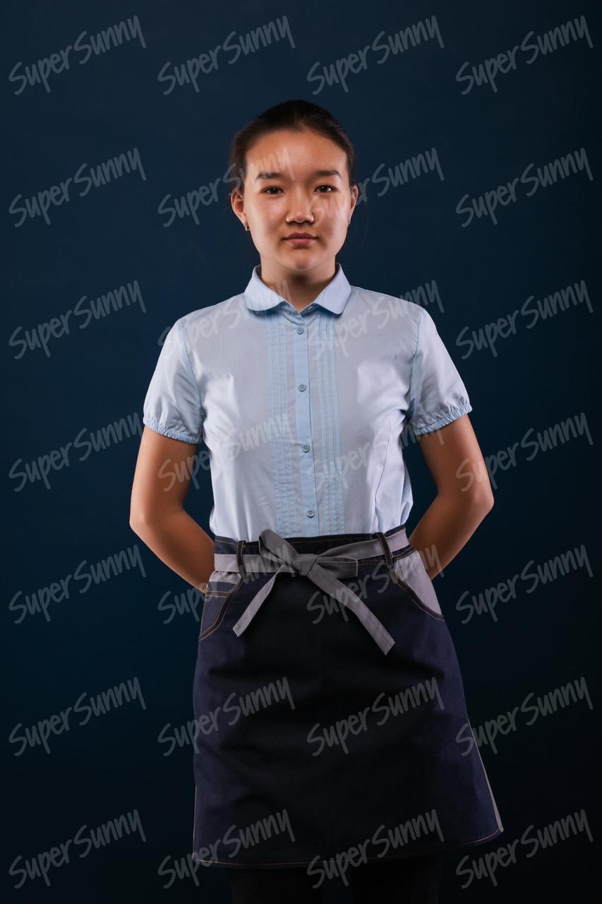 Фартук без грудки на подкладе, джинсовый