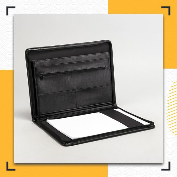 Деловая папка А4 с блокнотом черная