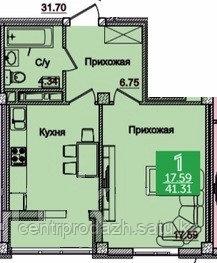 1 комнатная квартира в ЖК Олимпийский 41.31 м²