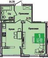 1 комнатная квартира в ЖК Олимпийский 41.31 м², фото 1