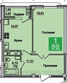 1 комнатная квартира в ЖК Олимпийский 47.12 м²