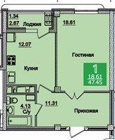 1 комнатная квартира в ЖК Олимпийский 47.12 м², фото 1