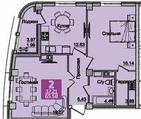 2 комнатная квартира в ЖК Олимпийский 65.58 м², фото 1