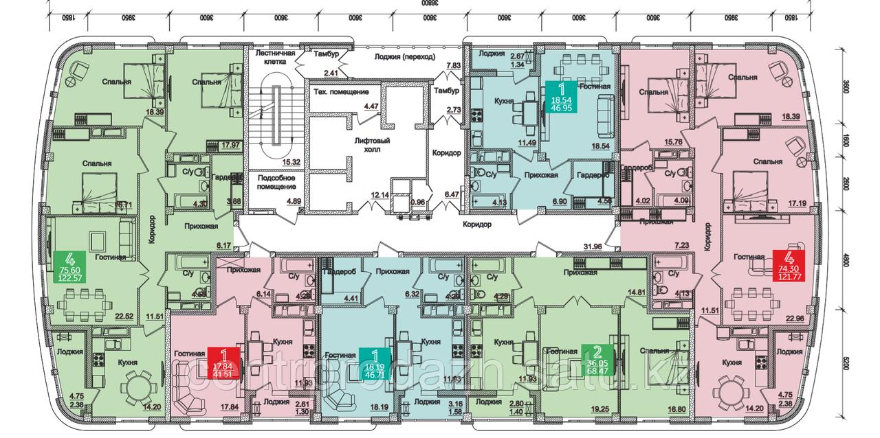 4 комнатная квартира в Олимпийский 121.77 м²
