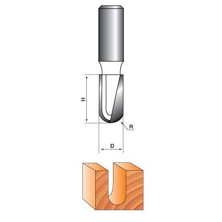 Фреза пазовая галтельная Глобус D=8,l=25,d=8mm,L=65 арт.1012 8х25 L65
