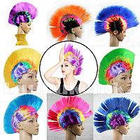 Парик Ирокез карнавальный цветной (разноцветный объемный парик панк)