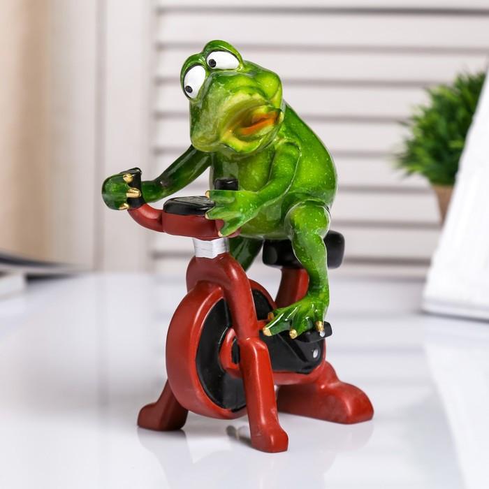 """Сувенир полистоун лак """"Лягуха на велотренажере"""" 18х8х11 см"""
