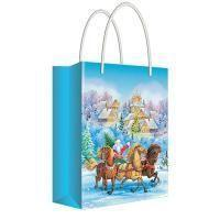 """Русский дизайн Пакет подарочный новогодний 11*13,5*6 см, """"Дед Мороз на санях с лошадьми"""", ламинированный."""