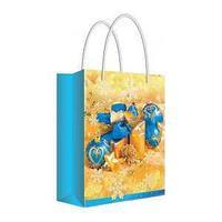 """Русский дизайн Пакет подарочный новогодний 11*13,5*6 см, """"Новогодние игрушки в золоте """", ламинированный."""