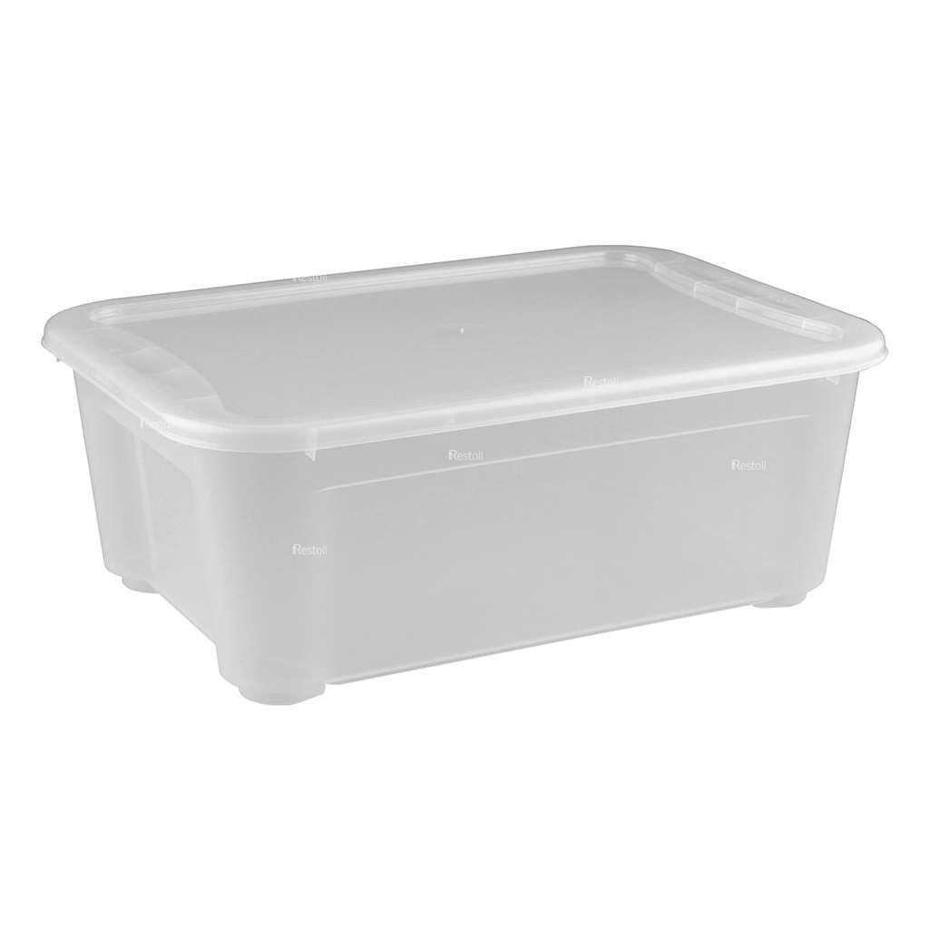 Ящик универсальный Restola 10л с крышкой, 389х275х145, прозрачный - 8 шт/уп