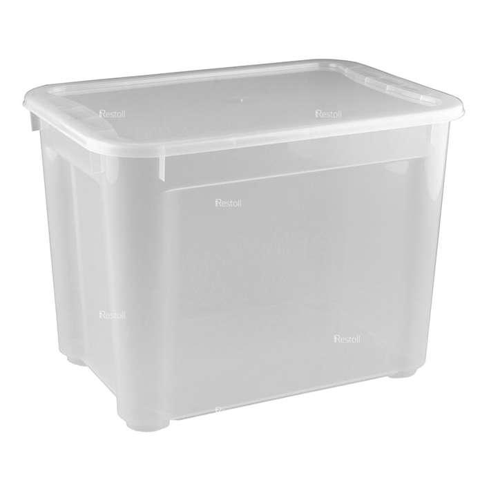 Ящик универсальный Restola 22л с крышкой, 389х275х286, прозрачный - 5 шт/уп