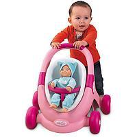 Ходунки-коляска Smoby 3в1 для кукол MiniKiss (розовый), фото 1