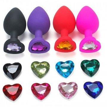"""Средняя силиконовая пробка """"Сердце"""" (цвет пробки и камня на выбор - по наличию)"""