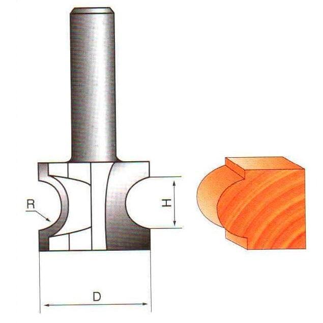 Фреза кромочня радиусная Глобус D=40,l=24,d=8mm,R=12 арт.1014 D40