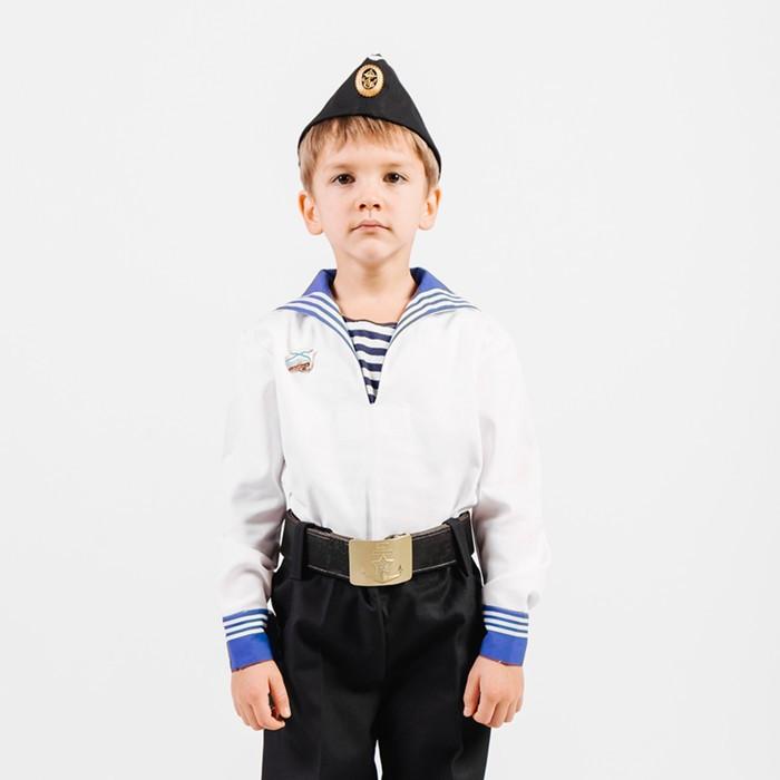 Костюм моряка, фланка, тельняшка, пилотка, ремень, рост 116 см