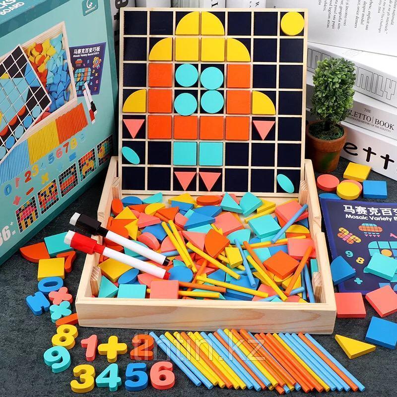 Деревянный набор 3 в 1: мозаика, маркерная доска, счетные палочки и цифры