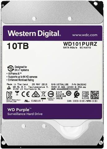 "Western Digital WD101PURZ Жесткий диск для видеонаблюдения 10Tb Purple Surveillance SATA 6Gb/s 256Mb 3,5"" 7200"