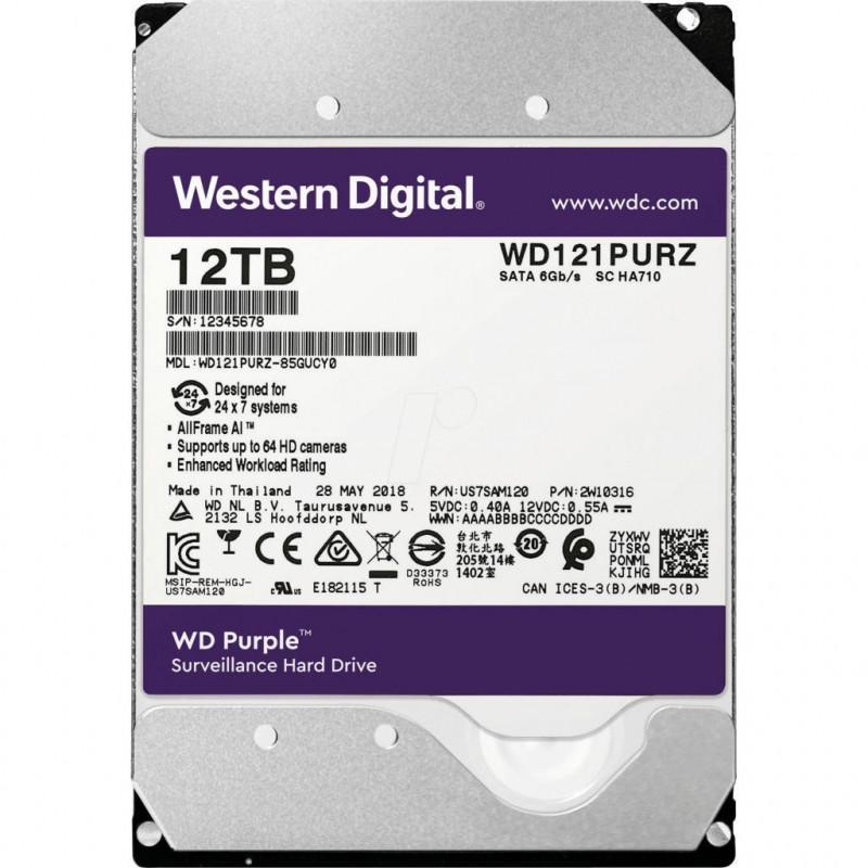 """Western Digital WD121PURZ Жесткий диск для видеонаблюдения 12Tb Purple SATA 6Gb/s 256Mb 3,5"""" 5400rpm"""