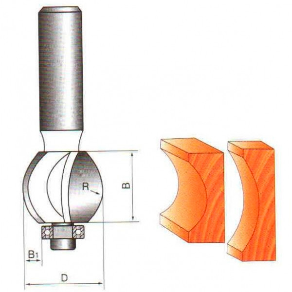 Фреза пазовая галтельная с подшипником Глобус D=30,l=16,d=8mm,R8 арт.1015 R8