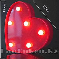 Светильник Сердце ночник красное сердце 17 x 17 см 6 ламп (на батарейках)