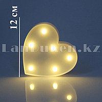 Светильник Сердце ночник белое сердце 12 x 12 см 6 ламп (на батарейках)