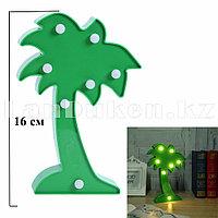 Светильник Пальма ночник зеленая пальма 16 x 10 см 7 ламп (на батарейках)