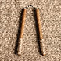 """Сувенирное деревянное оружие """"Нунчаки"""", темные, 25 см, массив бука"""
