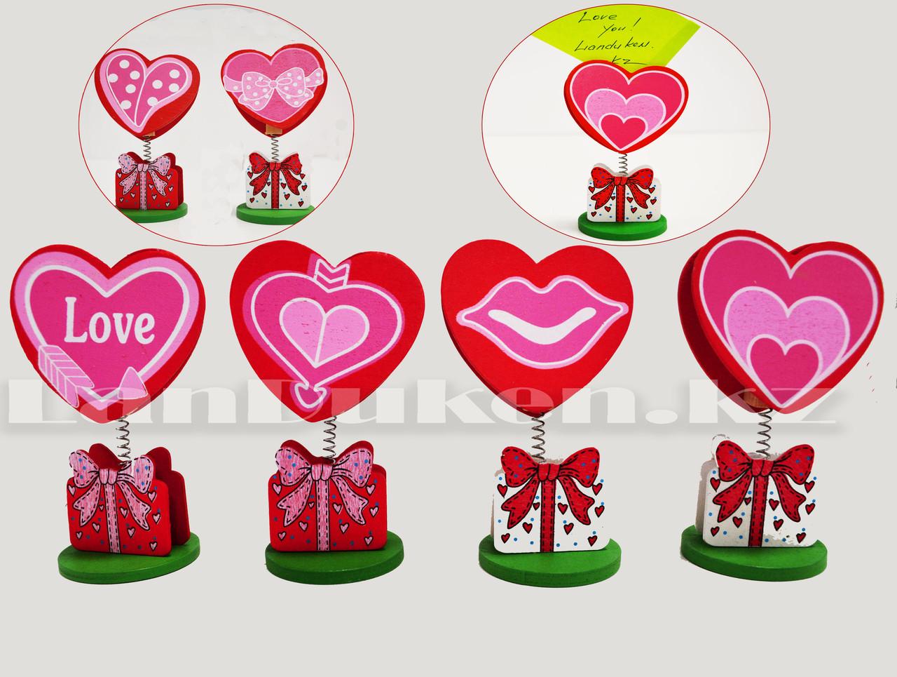 Настольная прищепка для визиток посланий и фотографий в виде сердца деревянные Валентинки в ассортименте - фото 1
