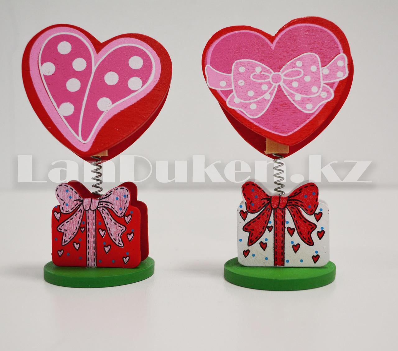 Настольная прищепка для визиток посланий и фотографий в виде сердца деревянные Валентинки в ассортименте - фото 4