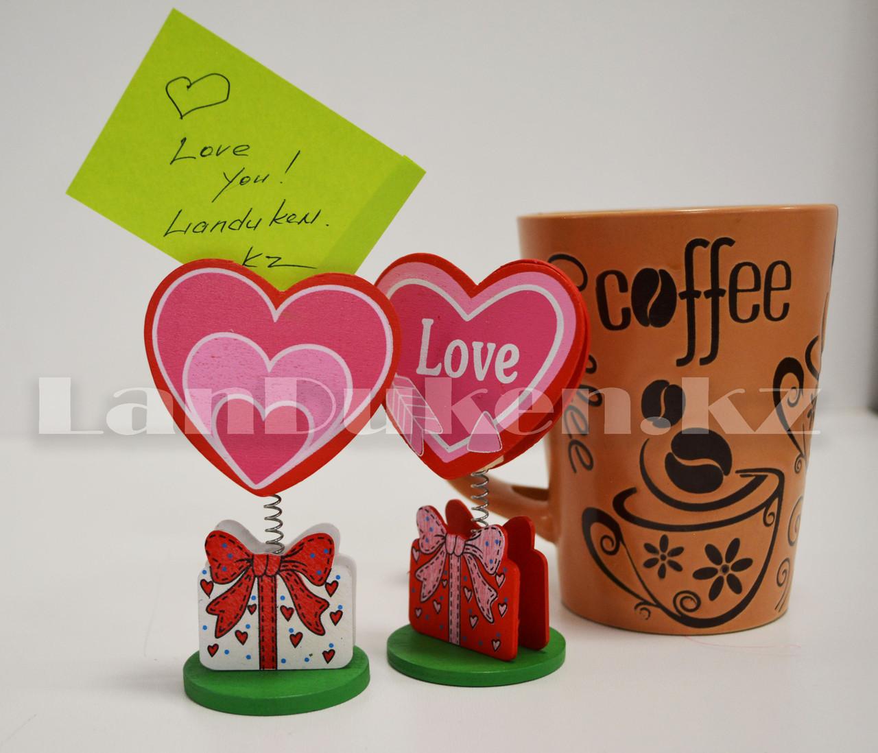 Настольная прищепка для визиток посланий и фотографий в виде сердца деревянные Валентинки в ассортименте - фото 2