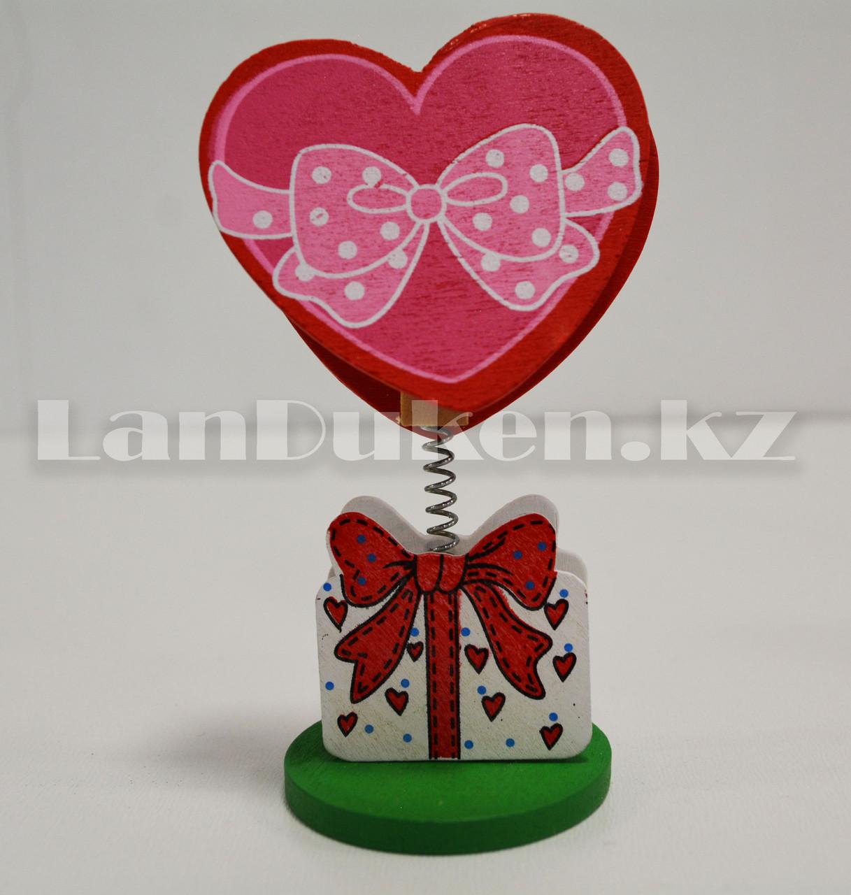 Настольная прищепка для визиток посланий и фотографий в виде сердца деревянные Валентинки в ассортименте - фото 5