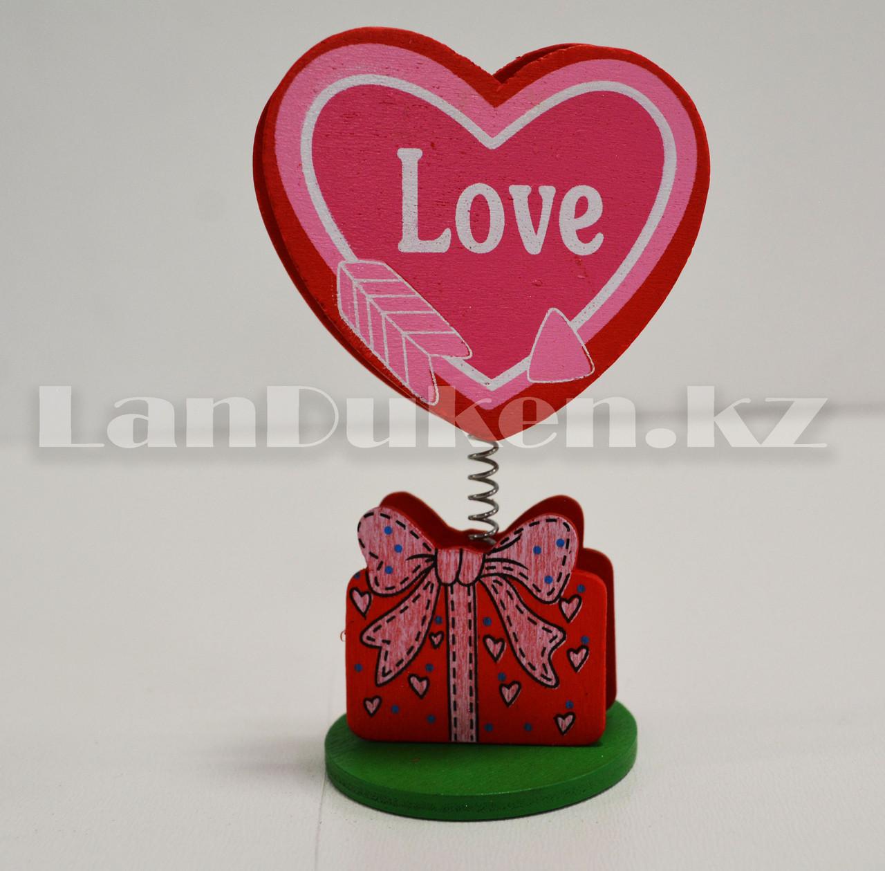 Настольная прищепка для визиток посланий и фотографий в виде сердца деревянные Валентинки в ассортименте - фото 3