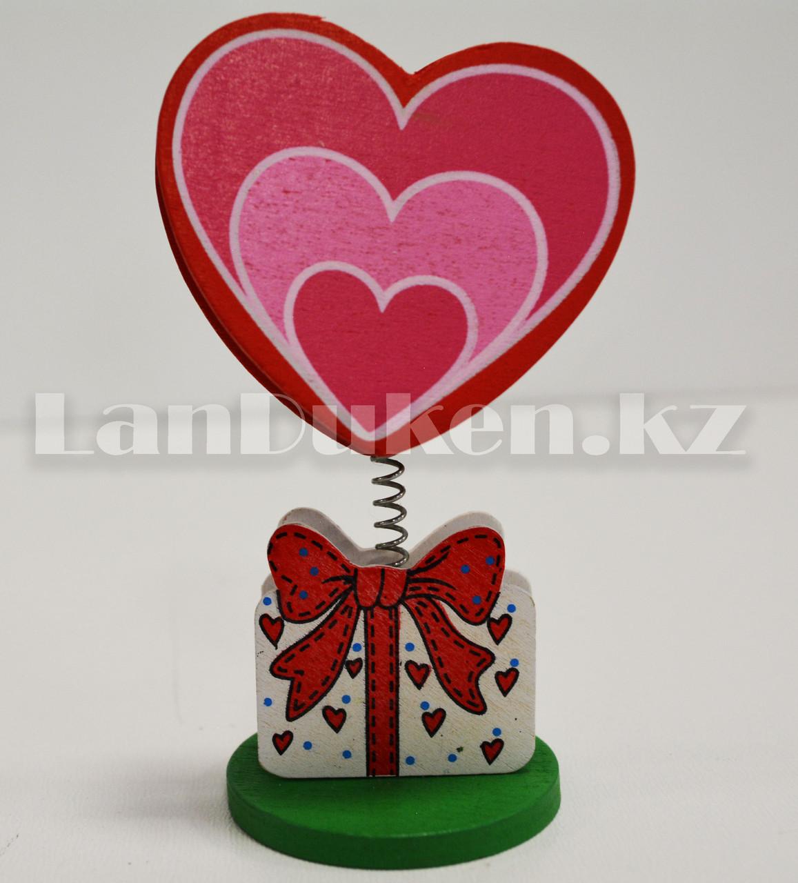 Настольная прищепка для визиток посланий и фотографий в виде сердца деревянные Валентинки в ассортименте - фото 6
