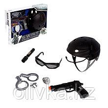 Набор шпиона «Суперагент», 6 предметов: каска, очки, пистолет, наручники, фонарик, значок