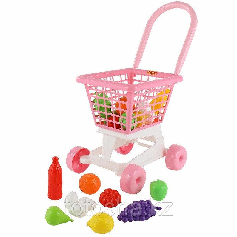 """Тележка """"Supermarket"""" №1 (розовая) + набор продуктов (в сеточке) Полесье 68477"""