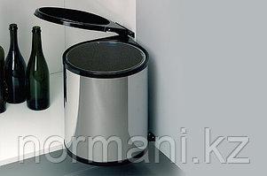 Ведро для мусора (13л), пластик чёрный + сталь нержавеющая