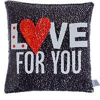 Подушка декоративная с пайетками Love 40х40 см велюр