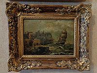 "Антикварная картина ""Замок Дунлюс у берегов Ирландии"" E.Pauwels"