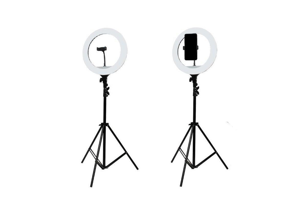 Селфи лампа, кольцевая на подставке с зажимом для телефона  36СМ