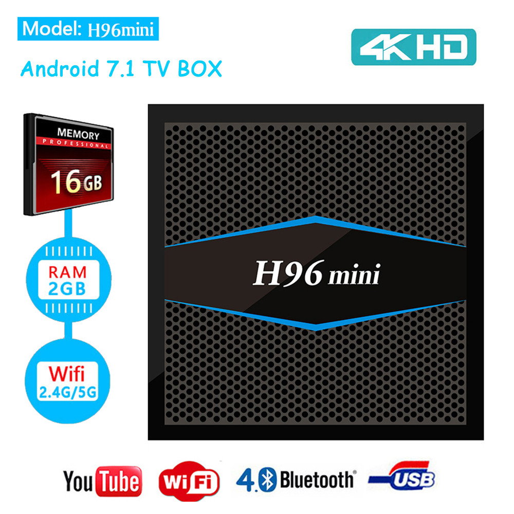 TV Box H96 MINI + 2/16 Гб,  ТВ приставка Smart TV Box Android UHD 4K Rockchip RK3318 smartbox