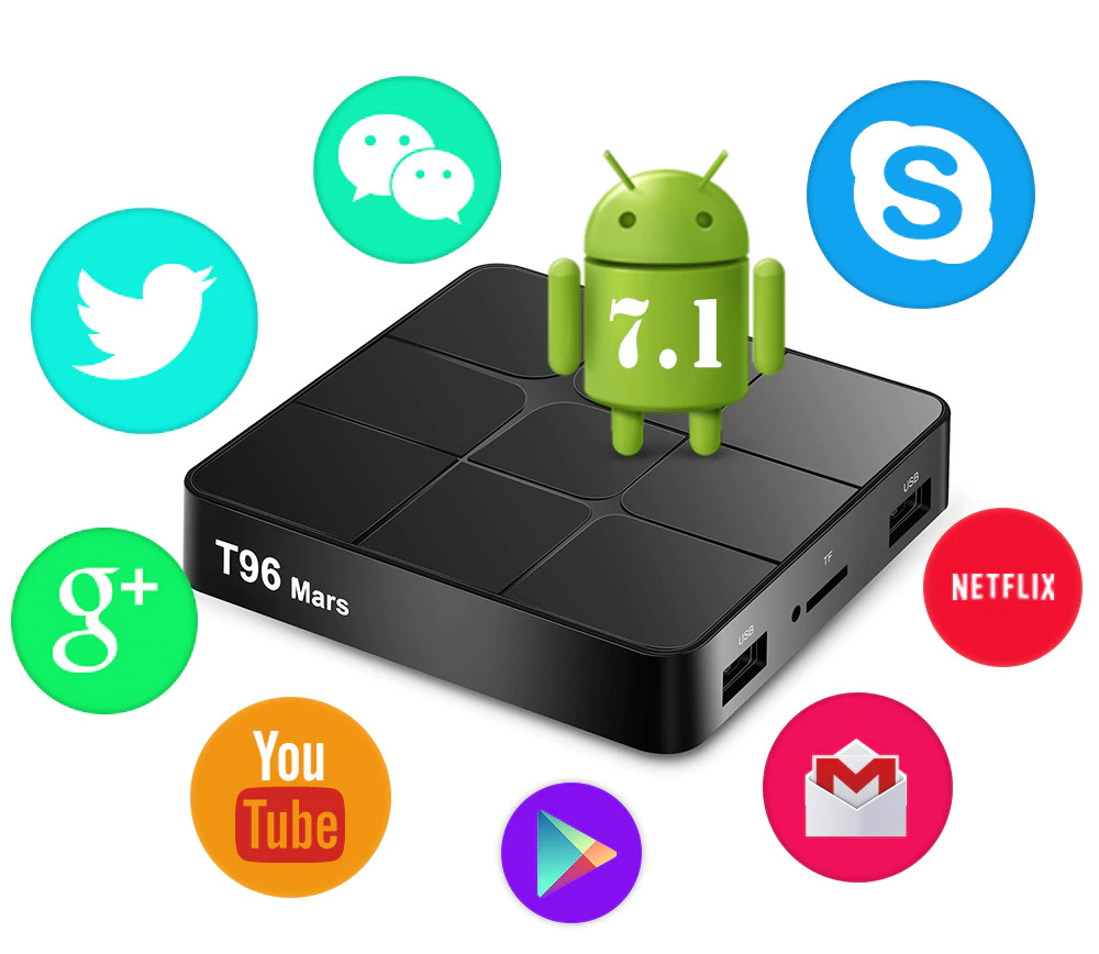 TV Box T96 Mars + 2/16 Гб, ТВ приставка Smart TV Box Android UHD 4K Rockchip RK3318 smartbox
