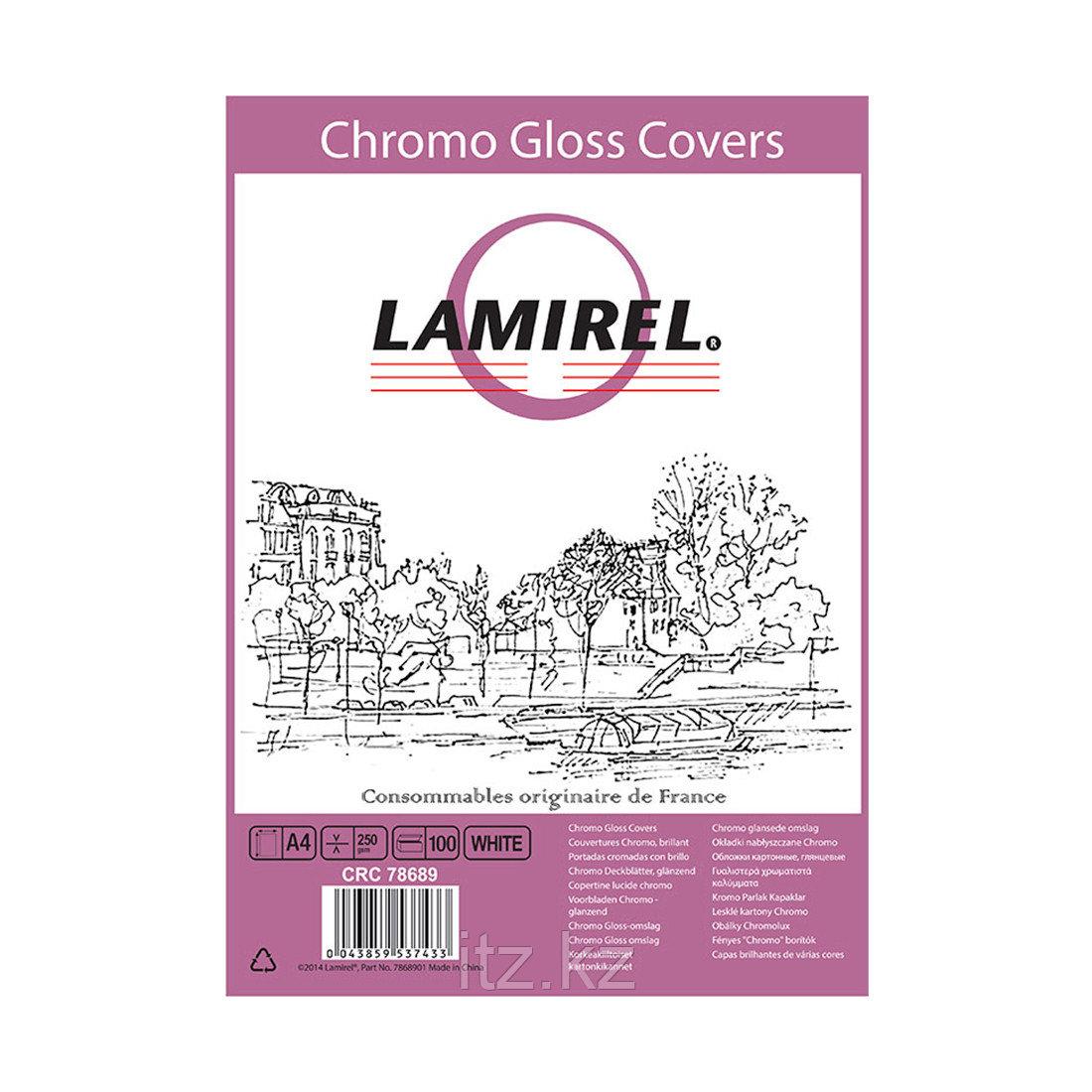 Обложки Lamirel Chromolux A4 LA-78689, картонные, глянцевые, цвет: белый, 230г/м