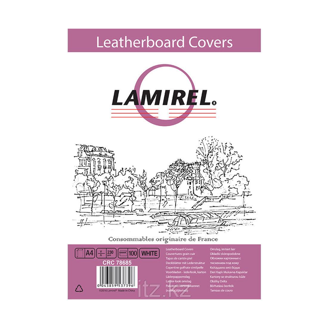 Обложки Lamirel Delta A4 LA-78685, картонные, с тиснением под кожу , цвет: белый, 230г/м