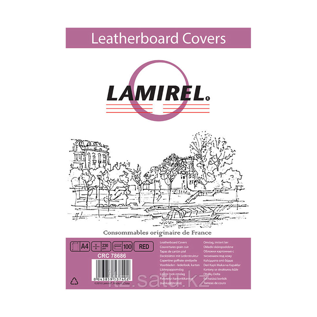 Обложки Lamirel Delta A4 LA-78686, картонные, с тиснением под кожу , цвет: красный, 230г/м