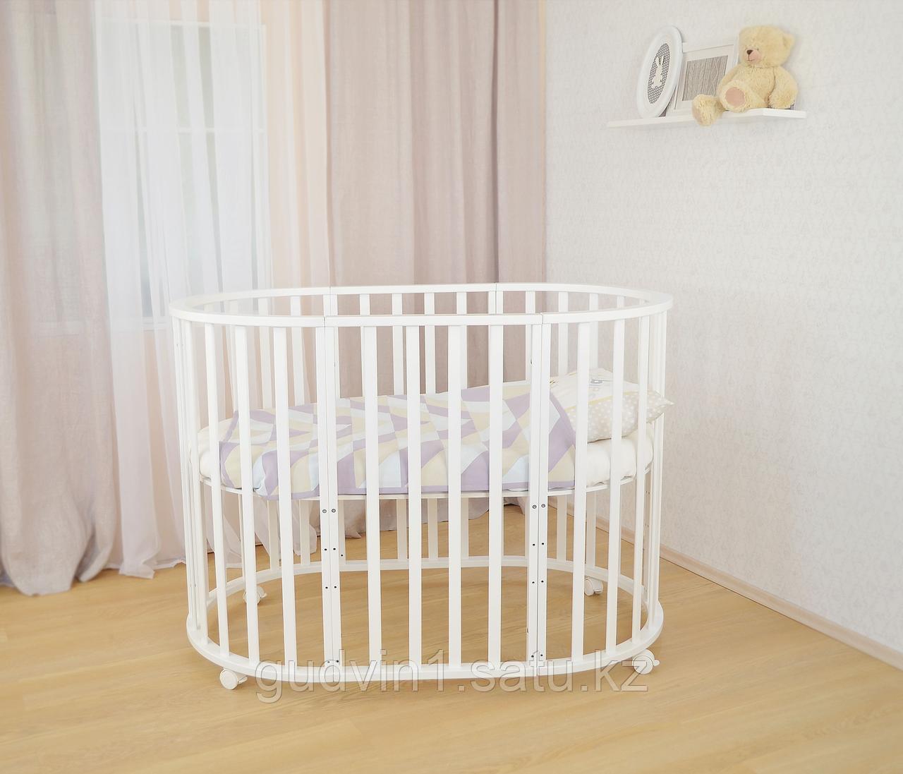 Круглая-овальная кровать трансформер 7в1 СКВ-1010111 белая,сл.кость