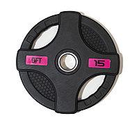 Диск олимпийский обрезиненный черный с двумя хватами 15 кг