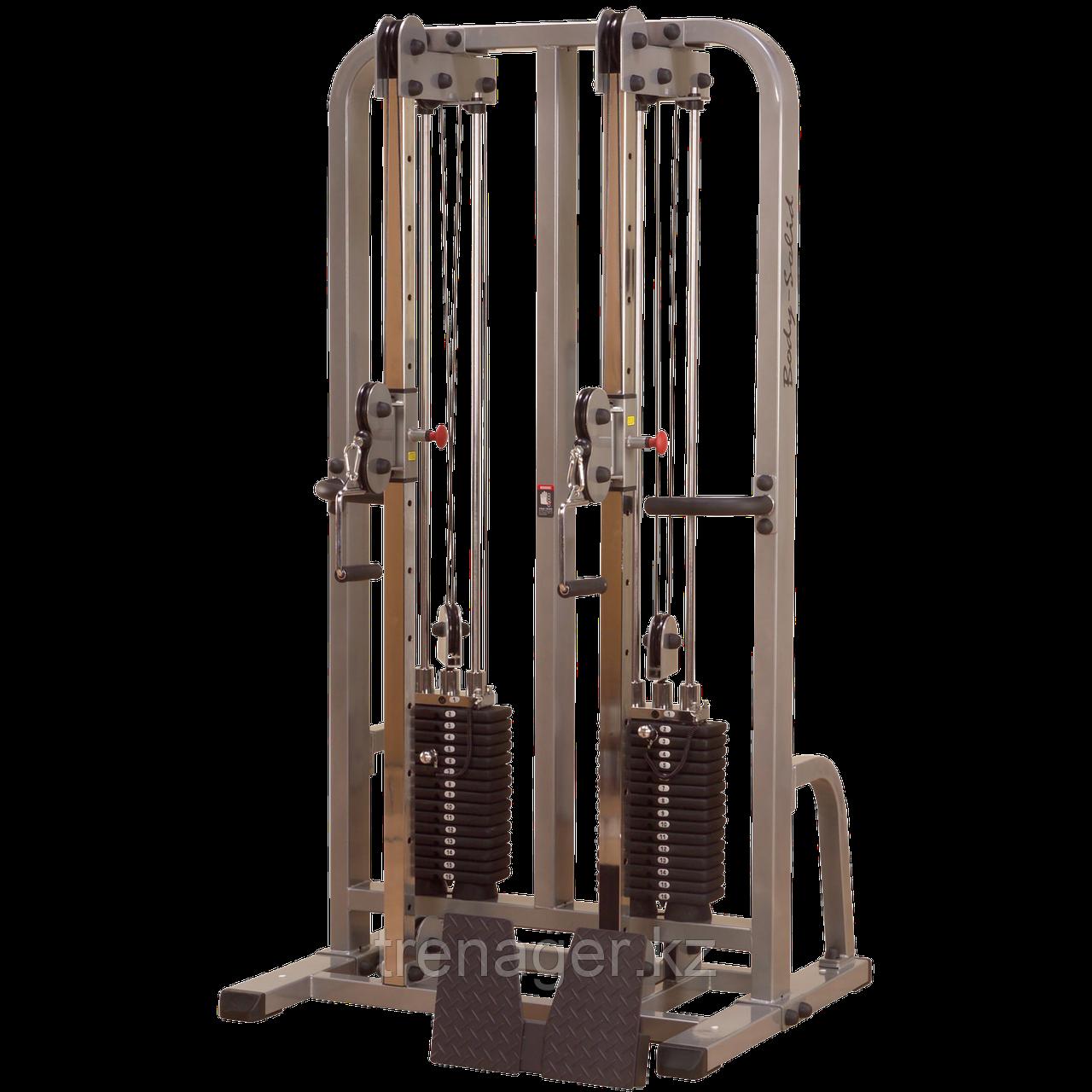 Сдвоенная блочная стойка с двумя весовыми стеками по 105 кг